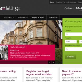 Sussex Letting Shop website